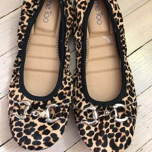 Leopard Leather Ballet Flats Me Too Size 9 Shoes